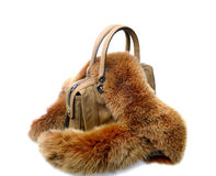 Brown womens bag with fur Stock Photography
