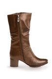 Brown womens leather boot Royalty Free Stock Photography