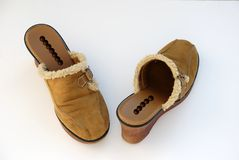 Brown womens slides Royalty Free Stock Image