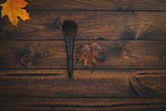 Brown wood background with single makeup brush and leaf. stock photo