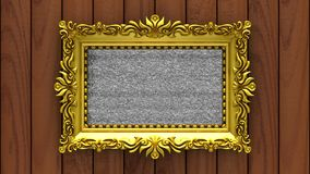 Brown wood on background. Tv noise and green chroma key plays on the screen in ornate gold picture frame. 3D animated. Tv noise on the screen in gold picture stock video footage