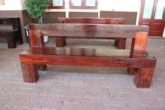 Brown wood bench stock photography