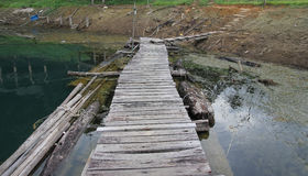 Brown wood bridge at  Cheowlan Stock Image