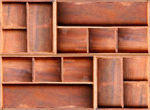 Brown wood cabinet shelf Royalty Free Stock Images