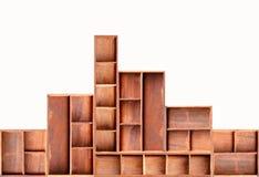 Brown wood cabinet shelf. Empty brown wood cabinet shelf royalty free stock photo
