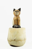 Brown wood cat statue on coconut shell isolated on white backgro Royalty Free Stock Images