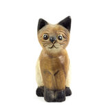 Brown wood cat statue isolated on white background Stock Photography