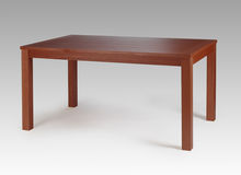 Brown wood dining table. Dark brown wood living room dining table Stock Photography