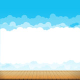 Brown wood floor with blue sky rainbow background. Empty room with space vector illustration eps10 royalty free illustration