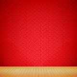 Brown wood floor with chinese style red background empty room wi Stock Images