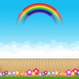 Brown wood floor with flower and blue sky rainbow background. Empty room with space vector illustration eps10 stock illustration