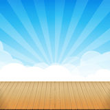 Brown wood floor texture and blue sky sunburst background empty. Room with space vector illustration eps10 royalty free illustration