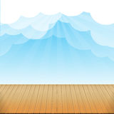 Brown wood floor texture and blue sky sunburst background empty. Room with space vector illustration eps10 stock illustration