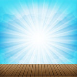 Brown wood floor texture and cloud blue sky sunbuest background. Empty room with space vector illustration eps10 vector illustration