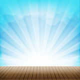 Brown wood floor texture and cloud blue sky sunbuest background Royalty Free Stock Photography