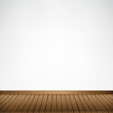 Brown wood floor texture and white wall background empty room wi Stock Images
