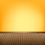 Brown wood floor texture and Yellow wall background empty room w Royalty Free Stock Photo