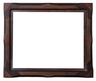 Brown wood frame of photo on isolate white Royalty Free Stock Photo