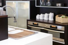 Brown wood kitchen modern stainless steel Stock Photos