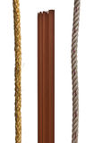 Brown wood and Manila rope. Stock Images
