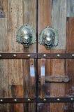 Brown wood old door Stock Image
