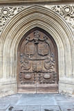 Brown wood old door. In the cathedral in Bath, England Stock Photo