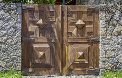 Brown wooden old gate Royalty Free Stock Photo