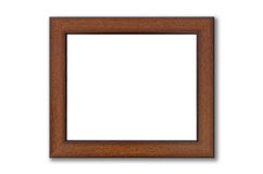 Brown wood picture frame on white Stock Photography