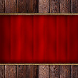 Brown wood plank wall and wavy textile. Brown wood plank wall and red wavy textile Royalty Free Stock Photography