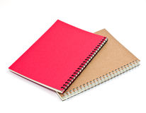 Brown wood and red note book isolated with shadow Stock Images