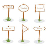 Brown wood sign doodle hand drawn icon set vector Stock Photo