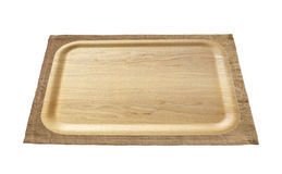 Brown wood tray and brown tablecloth Royalty Free Stock Photos