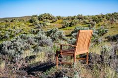 Brown Wooden Armchair on Green Grass stock images