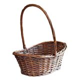 Brown wooden basket over white Stock Images