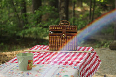 Brown Wooden Basket on Table Near Forest Stock Image
