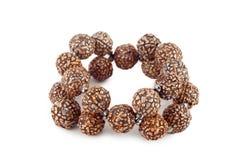 Brown wooden beads bracelet Stock Photos