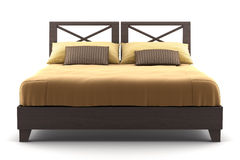 Brown wooden bed isolated on white Stock Photos