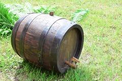 Brown wooden beer barrel stock images