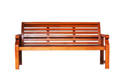 Brown wooden bench. In the white background Stock Photo