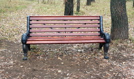 Brown wooden bench in autumn park Stock Photography