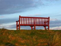 Brown Wooden Bench on Green Grass Field Stock Photo