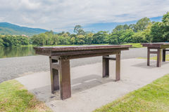 brown wooden bench at a green lake Stock Photos