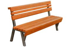 Brown wooden bench royalty free stock images