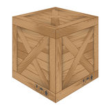 Brown wooden box on white Royalty Free Stock Photo