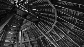 Brown Wooden Ceiling in Grayscale Photo stock images