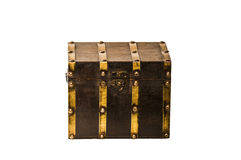 Brown wooden chest on white. Brown wooden chest with golden metal elements isolated on white Royalty Free Stock Photography