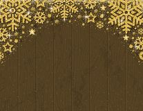Brown wooden christmas card with frame of golden glittering sno. Wflakes and stars, vector illustration royalty free illustration