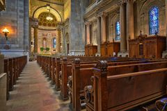Brown Wooden Church Pew Align Facing the Altar Stock Photos