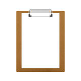 Brown wooden clipboard isolated for note in office of paper illu Royalty Free Stock Images