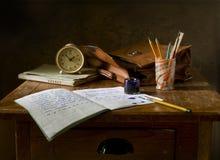 Brown Wooden Desk Stock Photos
